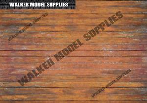 1:18 Scala (3xA4) Garage Legno Muro / Pavimento - Stacca E Applicazione Adesivo