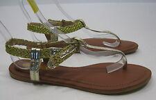 Donne Color Oro Caviglia Fascia Lato Fibbie Sexy Estivo Sandali Taglia 10