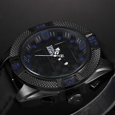 SHARK ARMY Mens Sport Date Day Quartz Black Leather Chronograph Wrist Watch+Box