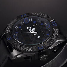 SHARK ARMY Mens Sport Quartz Black Leather Chronograph Date&Day Military Watch