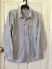The Northface Gray & White Checked  Cotton Long Sleeve Button Up Shirt X-Large