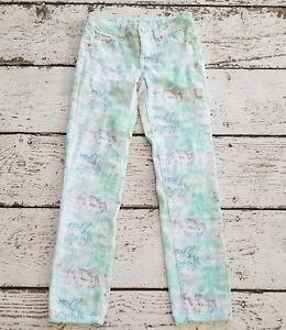 JUSTICE Premium Girls Teal Green Unicorn Pants Denim Jeans Straight Leg 10 EUC