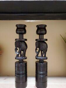 VINTAGE EBONY WOOD ELEPHANT CANDLE HOLDERS 9 1/2 INCH HAND CARVED FAST SHIP