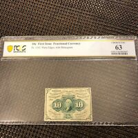 TOP POP! FIRST ISSUE FRACTIONAL! 10 cent PCGS BANKNOTE CHOICE UNC 63 VERY RARE!