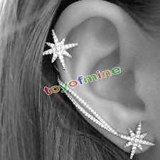 Fashion Women Ear Hook Stud Rhinestone Silver Crystal Earrings Jewelry Gift