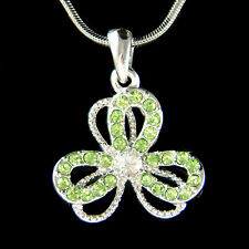 ~3 Leaf CLOVER~ made with Swarovski Crystal St Patricks Irish SHAMROCK Necklace