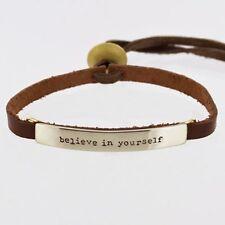 Leather Bracelet Quote Bracelet Cuff Word Bracelet BELIEVE IN YOURSELF Mima Oly