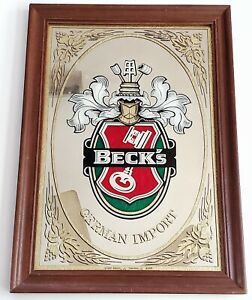 "VINTAGE BECK'S GERMAN IMPORTED BEER BAR MIRROR Wood Frame 14.5 X 20"""