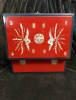 """Chinese Oriental Asian Lacquered Wooden Box Inlaid MOP Storage Wedding Food 12"""""""