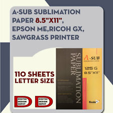 A-SUB 110 Sheets 8.5x11 Dye Sublimation Heat Transfer Paper Cotton Polyester Mug
