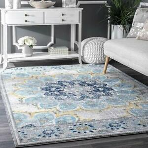 Polyester Living Dining Bed Drawing Room Rug Carpet 3' x 5' Anti Slip Backing