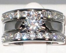 2.44 Ct. Solitaire Platinum CZ Bridal Engagement Wedding Ring Guard Set - SIZE 9