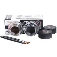 2 in 1 Brown + Black Gel Eyeliner Make Up Waterproof and Smudge-proof Set Pro