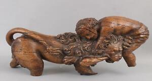 Early Antique 16/17thC Carved Wood Sculpture Fragment Hercules & Nemean Lion