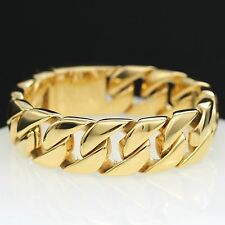Stainless Steel 24K Gold Plated Cuban Chain Link Bracelet Heavy Men's Bangle