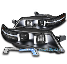 FOR 04-08 ACURA TL LED PROJECTOR BLACK HEADLIGHTS HEADLAMPS LAMP W/BLUE DRL KIT