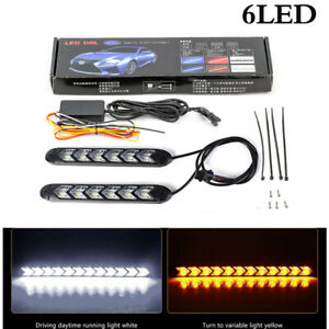 2x Flexible 6 LED Car White / Amber Switchback Turn Signal Arrow Driving Light