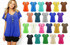 New Women's Gypsy Frill Necklace Tunic Summer V Neck Plus Size Blouse Tops 12-30