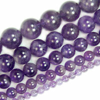 Charm Natural Round Amethyst Jewelry Loose Gemstone Stone Beads Strand 4-8mm