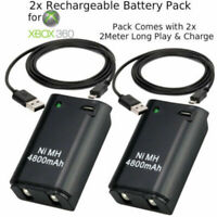 2x 4800mAh Battery Pack + 2 Charger Cable for Xbox 360 Wireless Controller 2M