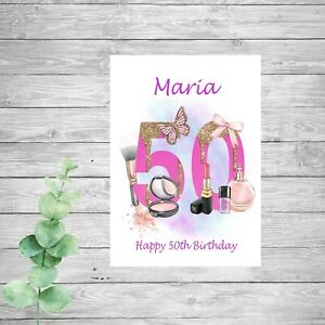 Personalised Make Up Birthday Card 16th 18th 21st 30th 40th 50th Daughter Sister