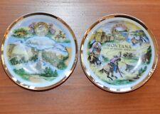 "2 Souvenir Plates South Dakota Montana Pin Dish Thrifco Made Japan Gold Trim 4"""