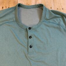 Lululemon Mens Green Henley Short Sleeve 3 Button Athletic Shirt XL