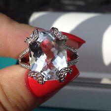 Sterling Silver BIG White Quartz Checkerboard Cut Ring  Size 8