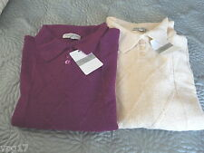 MARIANNA POLO STYLE  CABLE KNITTED JUMPER LADIES UK 16  22  PURPLE AND CREAM