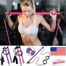 Pilates Bar Kit with Resistance Band Adjustable Exercise Stick Gym Yoga Toning
