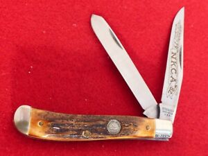 """Schrade USA mint Genuine Burnt STAG 1982 NKCA trapper 3-74/8"""" closed knife"""