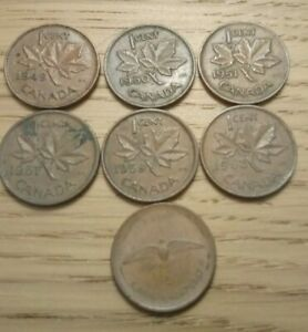 Canada 1 cent coin 1949, 50,51,57,59, 63,67 lot
