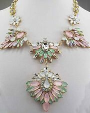 pentand Crystal Bib Statement charm chunky colorful collar Chain Necklace 612