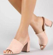 Blush Open Toe Mule Slide Slip On Chunky Heel Women's Shoes Breckelle Shoes