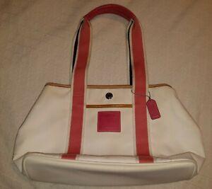 COACH Zip Top Tote Purse Bag  pink/white
