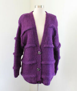 Vtg 90s Purple Striped Oversized Fit Mohair Wool Cardigan Sweater Jacket Size M