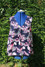 M & Co size 12 Pretty Navy Pink & White sleeveles Floaty top worn once
