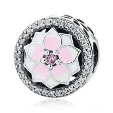 1pcs flower Silver CZ European Charm Beads Fit 925 Necklace Bracelet Pendant DIY