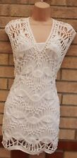 MARKS & SPENCER WHITE KNIT CROCHET KNITTED BEACH TUNIC CAMI SHIFT DRESS 14 L