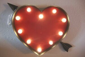"""Marquee Red Heart with Arrow Theater LED Light Up 3D Metal Sign 21"""""""