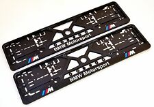 2x BMW M-POWER MOTORSPORT EUROPEAN LICENSE NUMBER PLATE SURROUNDS HOLDERS