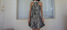Nastygal fit and flare dress metallic leopard mod-inspired collar size:small