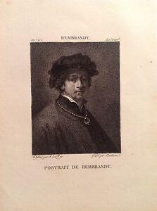 RITRATTO DI REMBRANDT giovane  Incisione or. XIX secolo pittore Olanda