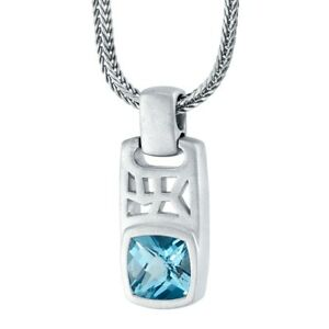 """Men's London Blue Topaz Tag Pendant Necklace in Sterling Silver, 22"""""""