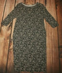 River Island Ladies Casual Dress Long Stretchy Black Mix Jersey UK 16