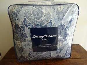 TOMMY BAHAMA Tybee Island BLUE TROPICAL FLORAL Cotton  Full QUEEN COMFORTER SET