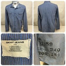 DKNY JEANS mens size Large L/S Striped Blue Gray, Dark Pearl Snaps Down Shirt