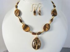 Tigers Eye statement necklace with matching earrings