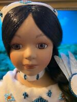 """16""""s tall Native American Indian Doll in Native Dress on stand.  she's beautiful"""