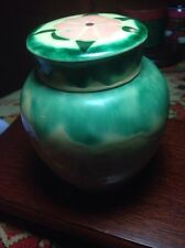 SMALL GREEN-YELLOW GINGER JAR UNKNOWN ORIGIN PAINTED FLOWER TOP